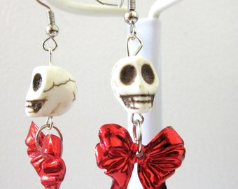 Zombie White Sugar Skull Earrings Red Bow Dangles