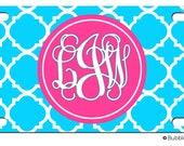 Personalized AQUA LATTICE hot pink License plate car Tag Name circle Monogram