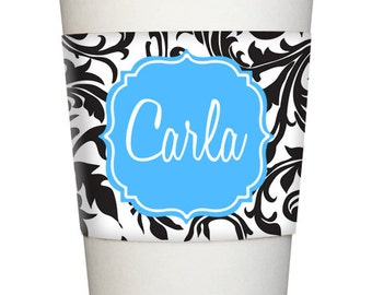 Personalized Java COFFEE SLEEVE wrap Monogrammed Black Swirl Toile name initial flourish frame