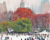 Luxury quality christmas card by Pastel Artist, Robert Antell, Skating in Central Park New York