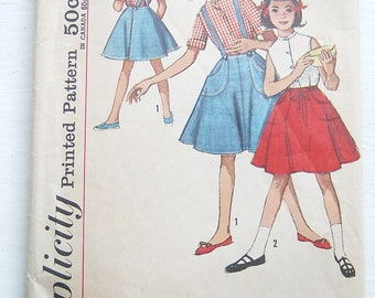 Sweet Simplicity 1950s Pattern 4961 Girl's Circle Skirt and Blouse, Vintage Size 12, 30-25-32.5 inches