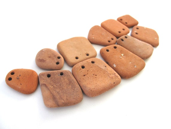 Beach Pottery Jewelry Beads - SPINO by StoneAlone - Brick Terracotta Jewelry Findings, Sea Pottery Artisan Findings