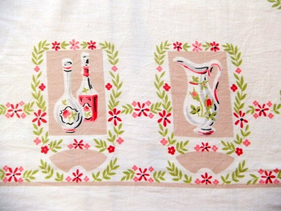 Pink Kitchen Tablecloth, Cottage Chic