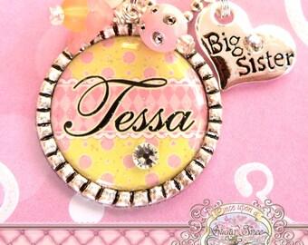 BIG SISTER NECKLACE Girl's Personalized Big Sister Charm, Polka Dots Stripes, Big Sister, Princess, Flower Girl, Present Gift, Wedding