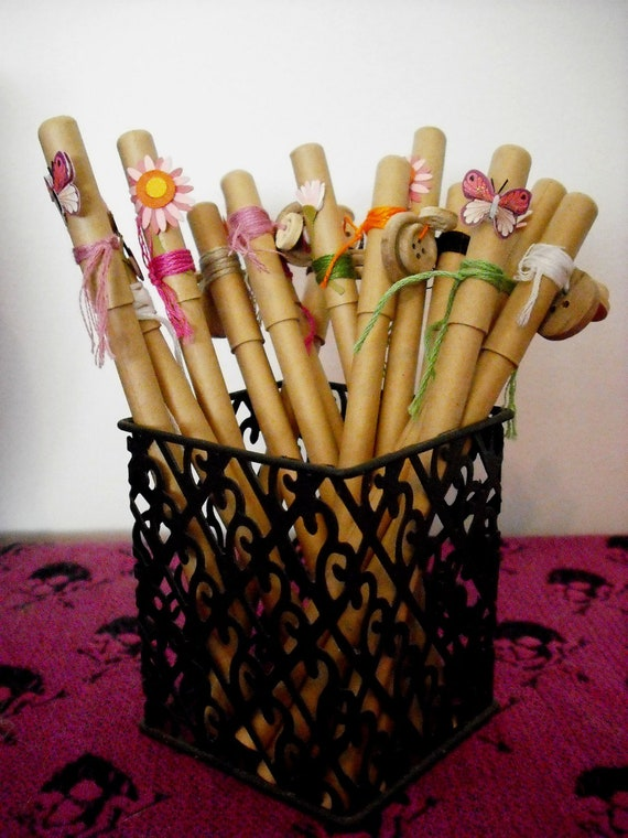 Back to school 14 nice paper pens with original design 100 % handmade FREE SHIPPING