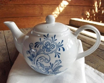 Teapot with Blue Swedish Rosemal Floral Design