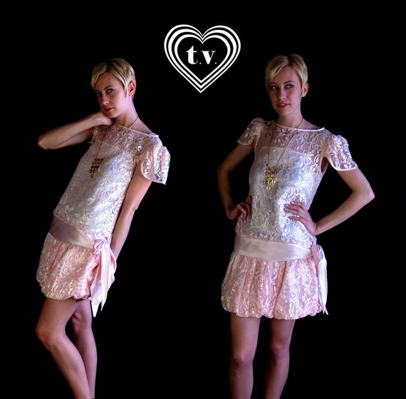 reserved for Carrie vtg 80s Drop Waist sheer PINK LACE Mini DRESS flapper party Small pastel