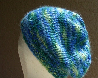 Slouch Hat, Tam, Beanie, Beret, Stocking Cap blues and greens multicolored baby alpaca