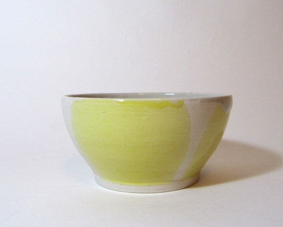 Color Block bowl, Yellow, Cream and unglazed