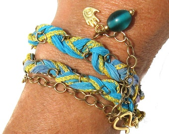 Boho Wrap Silk Bracelet in Turquoise, Yellow, Purple - Braided Silk Wrap Bracelet