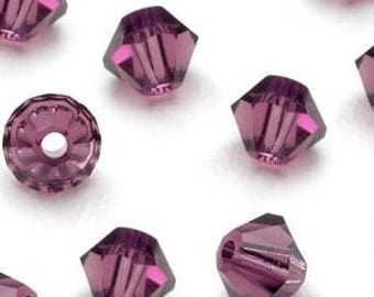 Swarovski Purple Amethyst Crystal Bicone 4mm Xilion ( 5328 ) - Qty 24
