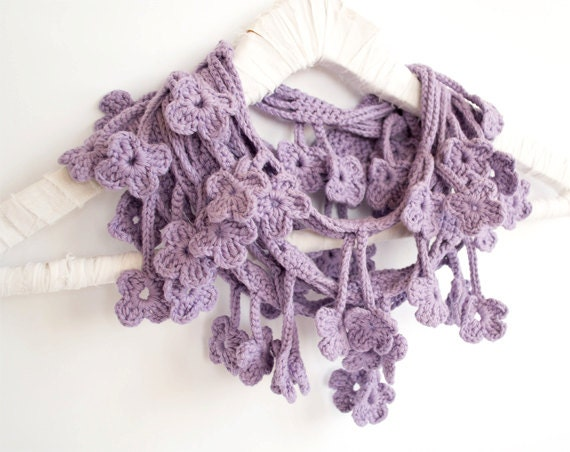 Light Purple Scarf, Egyptian Cotton Crochet Scarf, Floral - Made To Order