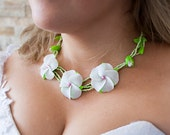 SALE Bridal Bridesmaid necklace and earrings set with White Frangipani Flower Polymer clay Israel