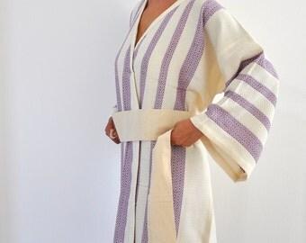 Peshtemal Turkish Bath Towel Kimono Robe Cotton Bathrobe Caftan Eco Friendly Extra Soft Purple Amethyst