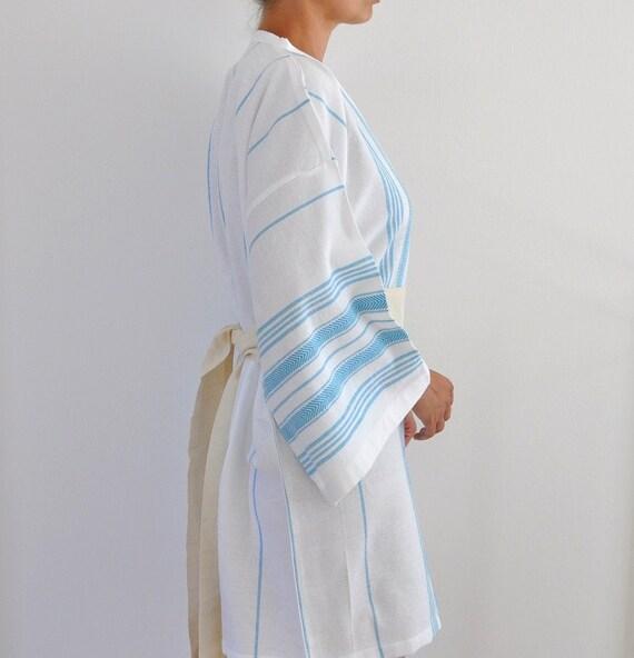 Bathrobe Peshtemal Robe Kimono Robe Eco Friendly Gifts Wearable Cotton Turkish Bath Towel Blue Turquoise Striped Marine Relax Soft