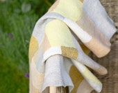 Heirloom Blanket Throw Quilt felted wool silk - nuno felt merino wool and plant dyed silk patchwork - Pram Stroler cover