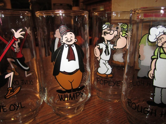 1975 Popeye Glasses Collect A Set