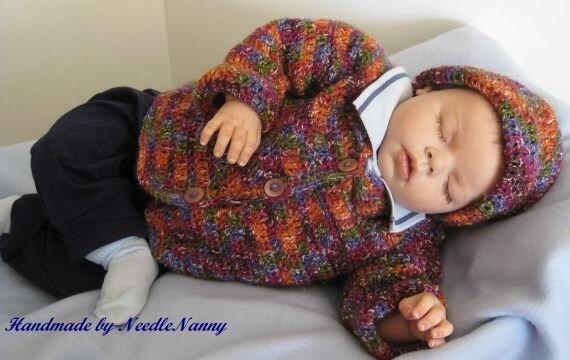 Newborn Baby Sweater Hat, Newborn to 6 months Baby  Infant Sweater Hat Set Handmade Crochet Toddler Photo Props
