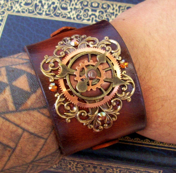 Steampunk Leather Bracelet (C44) - Time Travel Design - Wristband/Cuff - Copper and Brass - Brown Leather - Gears - Adjustable Straps