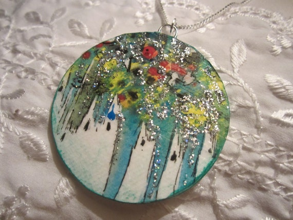 Hand painted jewelry,ooak jewelry, water color jewelry,art deco jewelry, turquoise,boho jewelry,wearable art jewelry