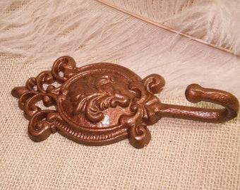CLEARANCE sale / Wall Hook Copper Painted Metallic - Cast Iron Wall Hook- Organzation / Towel Rack / Key Hook