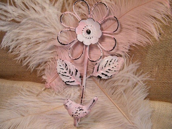 SALE - Wall Hook - Bird and Flower Motif - White and Pink two tone - Chippy - Distressed - Shabby and Cottage Style Chic