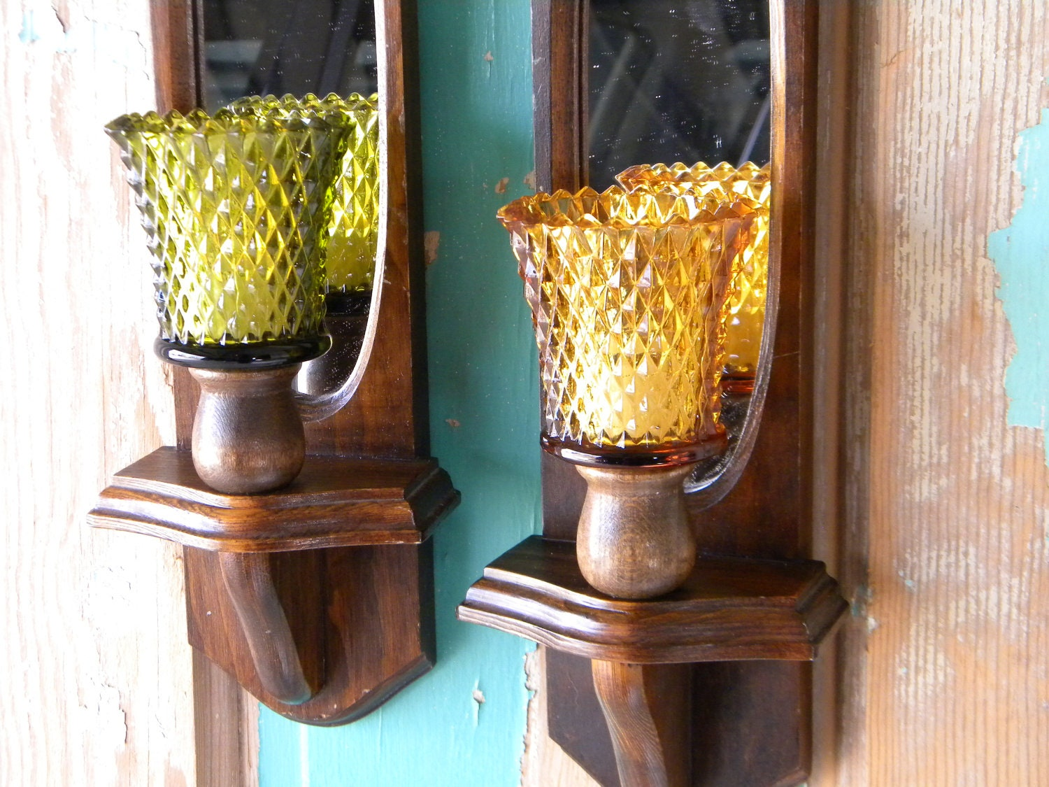 Vintage Brown Wood Candle Wall Sconces with Amber and Olive