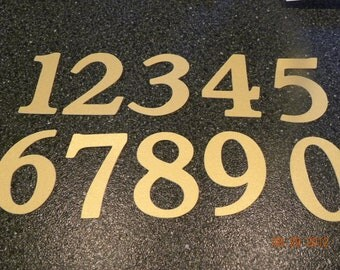 Numbers 1-10---3 1/2 inch Personalized Metallic Gold Paper Numbers for Banner, Table Numbers, Birthday, Scrapbook, Die Cuts