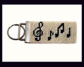 Needlepoint Kit, Music Key Fob, with monogram option