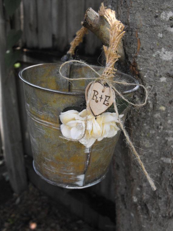 Alternative Flower Girl Basket Ideas : Flower girl basket alternative distressed by hanscreations