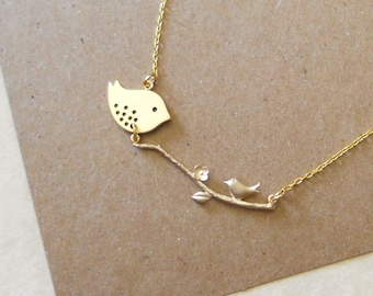 Gold Mommy Bird with Baby Bird sitting on a branch Necklace, Pregnancy, expecting, mother, new mom, family, handmade jewelry, wife, sale