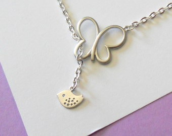 Matte Silver Butterly and Baby Bird Lariat Necklace, handmade jewelry