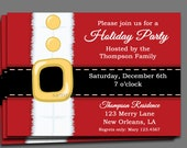 Christmas Party Invitation Printable or Printed with FREE SHIPPING - Santa Claus is Coming to Town