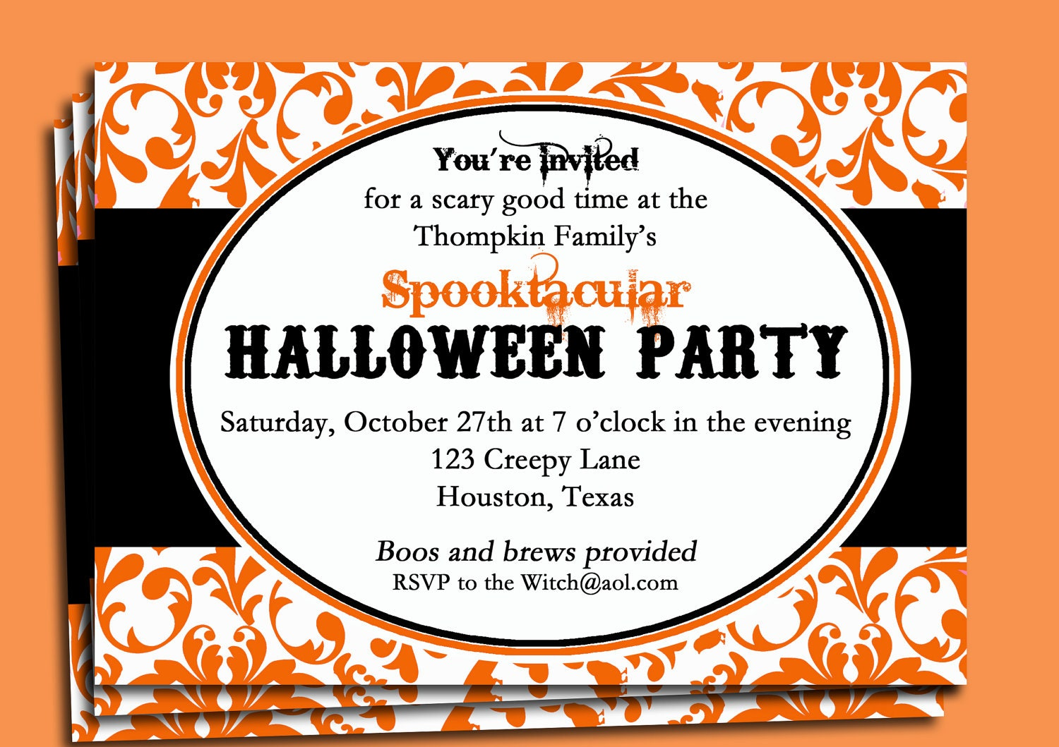 Halloween Party Damask Invitation Printable Frightfully