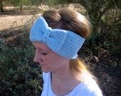 Bow Ear Warmer Headband - Light Blue