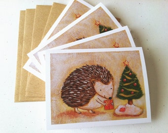 Hedgehog Christmas Card - set of 4 cards by Megumi Lemons