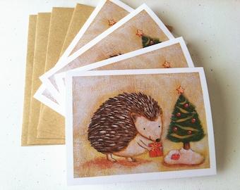 Hedgehog Christmas Card - set of 4 cards by Megumi Lemons