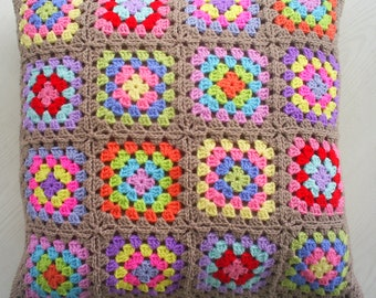 the traditional crochet granny square cushion cover / pillow cover
