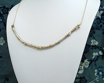 Silver Twig and Pearl Necklace