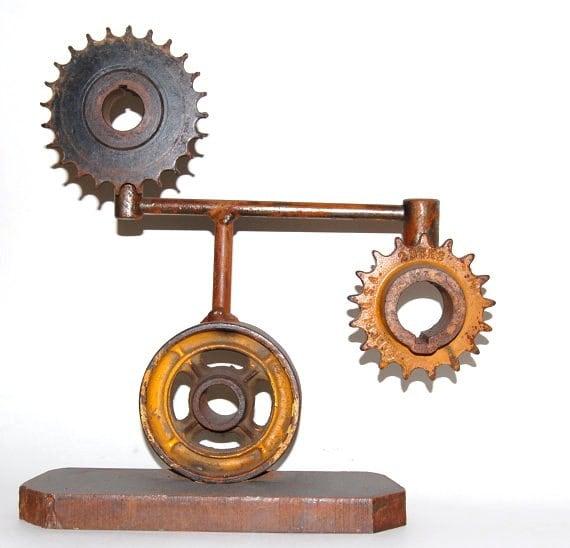 steel gear sculpture  - industrial art -  gear bookend - gearhead - upcycled gears - recycled steel  -  home decor - metal garden art
