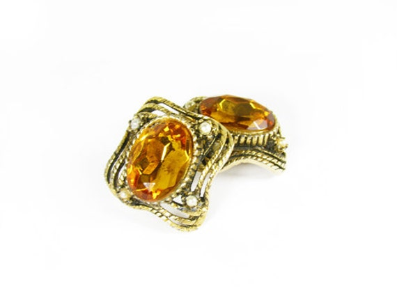 Vintage Amber Rhinestone and Pearl Earrings, Perfect for Fall - Boucles d'Oreilles.