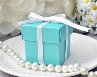 10 Robin Egg/ Aqua/ Turqoise Favor Boxes