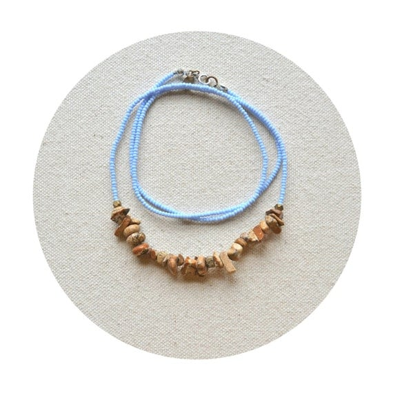 Rock the Rock Necklace- Picture Jasper, Powder Blue, and Faceted Brass