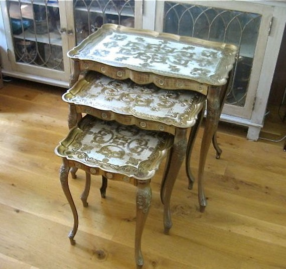 Vintage Set 3 Florentine Nesting Tables Italy Gold By Vivavera