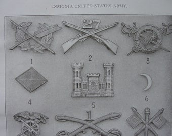 Insignia United States Army lithograph print from 1911 encyclopedia