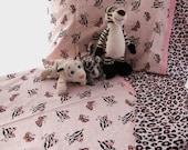 Girl toddler bedding leopard zebra butterfly pink black print crib sheet set 3 pc nursery bedding OOAK