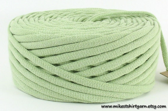 T Shirt Yarn Recycled Mint Green 42 Yards Super Bulky Crafting Cord