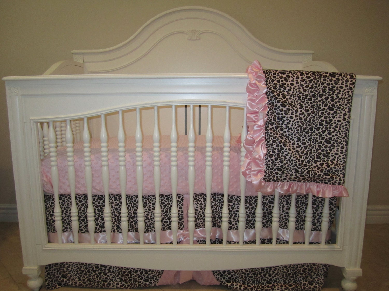 Pink Leopard Baby Bedding Set 3 Piece Crib Bedding Set-No