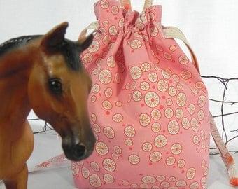 Drawstring Knitting Bag, Tote Bag: Pink & Orange Dots Project Bag