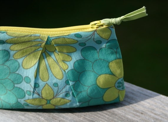 Small Yellow and Turquoise Floral Cotton Pouch